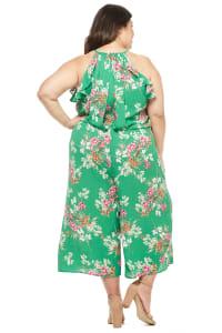 Meadow Halter Ruffle Sleeve Jumpsuit - Plus - Green/Multi - Back
