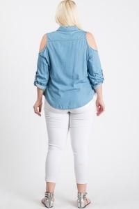 The Not So Basic Denim Cold-Shoulder Shirt - Denim - Back