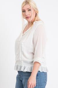 Dotted Chiffon Blouse - White - Back