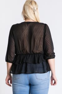 Show Off Dotted Blouse - Black - Back