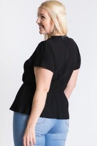Stylish Over-Wrap Top - Black - Back