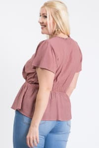 Stylish Over-Wrap Top - Mauve - Back