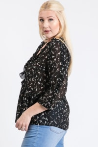 Throw On & Go Floral Top - Black - Back