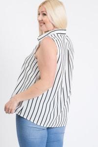 Date Night Sleeveless Top - White - Back