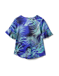 Summertime Palm Print Tie Front Knit Top - Cobalt/Green/Black - Back