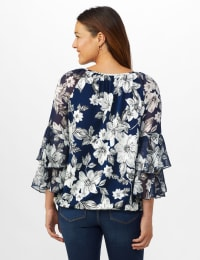 Novelty Sleeve Floral Print Knit Top - Navy/Ivory/Gray - Back