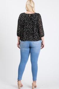 Floral Long Sleeve Top - Black - Back