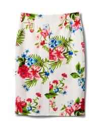 Floral Print Scuba Crepe Pull On Skirt - White cotton - Back