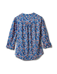 3/4 Bouquet Ditsy Popover Knit Top - Misses - Navy - Back