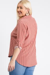 Multi-Use Stripped Top - Mauve - Back