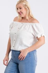 Off-Shoulder Short Sleeve Top - White - Back