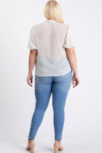Dot Print Blouse - Off-White - Back