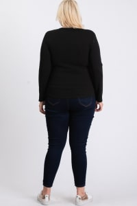 V-Neck Plain Sweater - Black - Back
