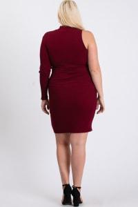 One-Shoulder Sexy Dress - Burgundy - Back