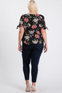Big Flowers Over Wrap Top - Black - Back