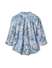 Floral Paisley Pintuck Knit Popover-Petite - Peri - Back