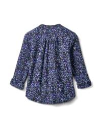 Zip Neck 2 Pocket Knit Popover-Petite - Ivory-Black - Back