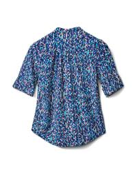 Elbow 2 Pocket Knit Pintuck Popover-Petite - Blue-Purple - Back
