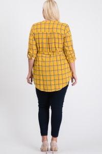 Playful Plaid Tunic Shirt - Mustard - Back