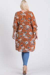 Light Chiffon Floral Cardigan/ Cover-up - Rust - Back