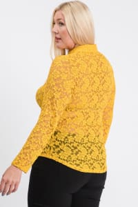 Lace Buttoned Blouse - Yellow - Back