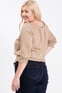 Off-shoulder x Smocking Cropped Top - Khaki - Back