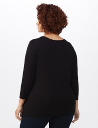 V-Neck Tie Front Knit Top - Plus - Black - Back