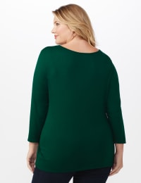 V-Neck Tie Front Knit Top - Plus - Hunter green - Back