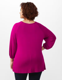 3/4 Sleeve Twist Cut Out Neck Top - Plus - Magenta - Back
