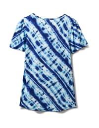 Bias Tie Dye Knot Front Knit Top - Misses - Blue - Back
