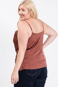 Printed Satin Cowl Neck Cami Top - Rust - Back