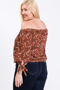Small Flowers Off-Shoulder Top - Rust - Back