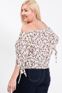 Small Flowers Off-Shoulder Top - White - Back