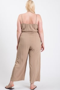Summertime Poly Linen Jumpsuit - Khaki - Back