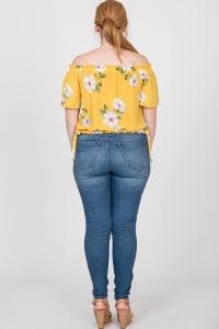Big Flowers Off-Shoulder Top - Mustard - Back