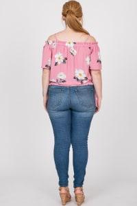 Big Flowers Off-Shoulder Top - Pink - Back