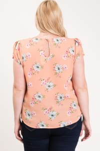 Light And Bright Floral Top - Peach - Back
