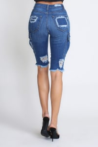 Ripped & Skinny Bermuda Shorts - Medium stone - Back