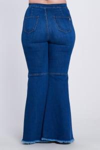 Plus Size Distressed Flare Jeans - Medium stone - Back