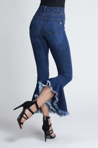 Asymmetrical Bell-Bottom Flare Jeans - Medium stone - Back