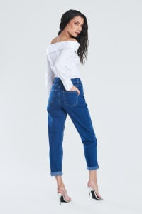 Dark Blue Classic Mom Jeans - Dark stone - Back