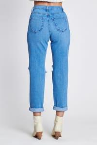 Ripped Boyfriend Jeans - Medium stone - Back