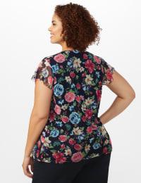 Floral Mesh Tier Knit Top - Plus - Navy - Back