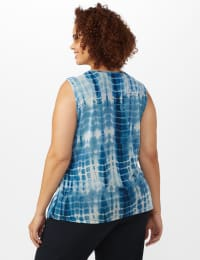 Tie Dye Mesh Tier Knit Top - Navy - Back