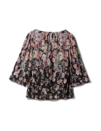 Floral Border Print Bubble Hem Blouse - Black/Lavendar - Back