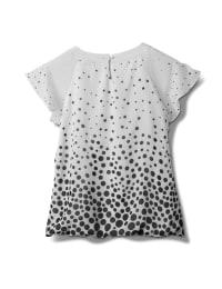 Keyhole Dot Bubble Hem Woven Blouse-Petite - White/Black - Back