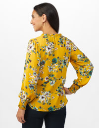 Ruffle V-neck Floral Blouse - Golden Mustard - Back