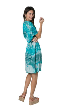 Flynn Dress - Teal Tie Dye - Back