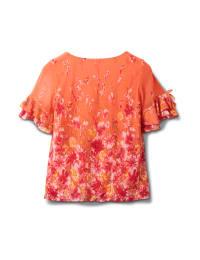 Double Ruffle Sleeve Bubble Hem Blouse-Petites - Coral - Back