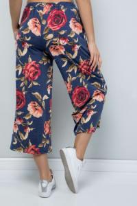 Floral Wide-Leg Cropped Pants - Denim - Back